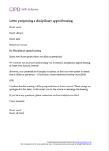 Letter postponing a disciplinary appeal hearing