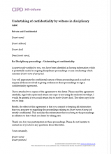 Letter regarding witness confidentiality in a disciplinary case
