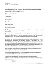 Letter requesting an external witness to provide a witness statement regarding an internal grievance