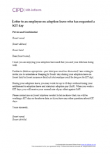 Letter responding to an employee on adoption leave who has requested to attend a KIT day