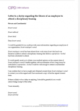 Letter to a doctor regarding the fitness of an employee to attend a disciplinary hearing