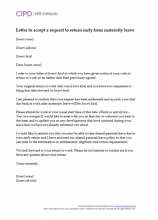 Letter to accept a request to return early from maternity leave