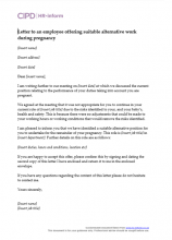 letter to an employee offering suitable alternative work during pregnancy