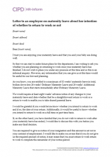 Maternity leave letter bestproud letter to an employee on maternity leave about her intention of whether to return to work spiritdancerdesigns Images