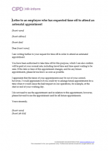 Letter to an employee who has requested time off to attend an antenatal appointment