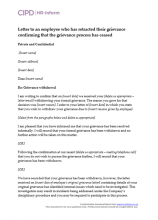 Letter to an employee who has retracted their grievance confirming that the grievance process has ceased