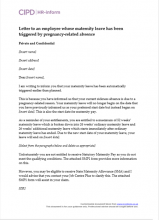 Maternity leave and pay hr inform letter to an employee whose maternity leave has been triggered by pregnancy related absence spiritdancerdesigns Images