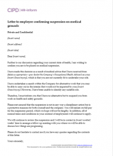 Letter to employee confirming suspension on medical grounds