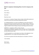 Letter to employee informing them of end of company sick pay