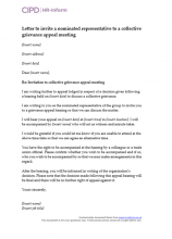 Letter to invite a nominated representative to a collective grievance appeal meeting