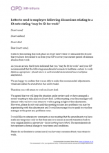 "Letter to send to employee following discussions relating to a fit note stating ""may be fit for work"""