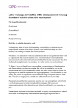 letter warning a new mother of the consequences of refusing the offer of suitable alternative employment
