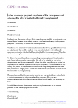 Letter Warning A Pregnant Employee Of The Consequences Refusing Offer Suitable Alternative Employment