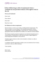 Letter withdrawing an employment offer where a candidate has not provided evidence of right to work in the UK