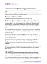 Announcement insert - scaled employer contribution