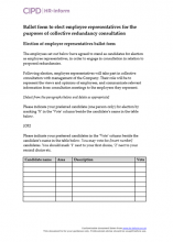 Ballot form for electing employee representatives for collective redundancy consultation