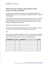 Ballot form to elect employee representatives for the purposes of Tupe consultation