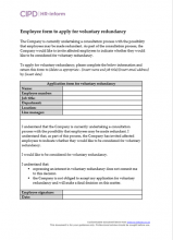 Employee form to apply for voluntary redundancy