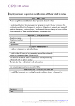 Employee form to provide notification of their wish to retire
