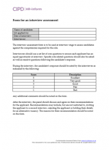 Form for an interview assessment
