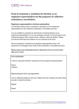 Form to nominate an employee representative for collective redundancy consultation