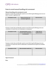 Form to record manual handling risk assessment
