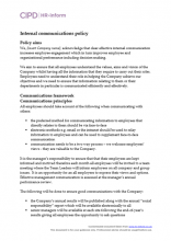 Internal communications policy