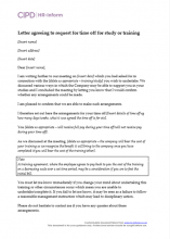 Letter agreeing to support for study or training