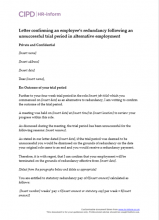Letter confirming an employee's redundancy following an unsuccessful trial period in alternative employment