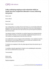 Letter confirming employee made redundant whilst on family leave has accepted alternative vacancy following trial period
