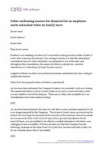 Letter confirming reasons for a dismissal for an employee made redundant when on family leave