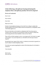Letter following a disciplinary hearing informing the employee that a disciplinary penalty will not be imposed
