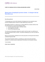 Letter for employees who are being automatically enrolled