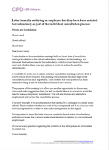Letter formally notifying an employee that they have been selected for redundancy as part of the individual consultation process