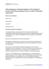 Letter informing a redundant employee of the employer's decision following a meeting to discuss the offer of alternative employment