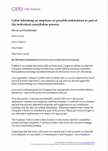 Letter informing an employee of possible redundancy as part of the individual consultation process
