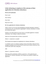 Letter informing an employee of the outcome of their application for voluntary redundancy
