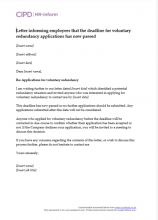 Letter informing employees that the deadline for voluntary redundancy applications has now passed