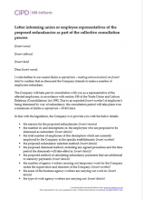 Letter informing union or employee representatives of the proposed redundancies as part of the collective