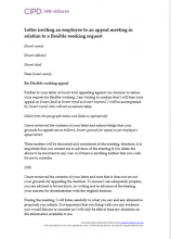Letter inviting an employee to a flexible working appeal meeting