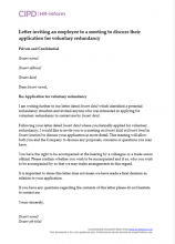 Letter inviting an employee to a meeting to discuss their application for voluntary redundancy