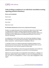 Letter inviting an employee to an individual consultation meeting regarding potential redundancy