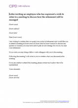 Letter inviting an employee who has expressed a wish to retire to a meeting to discuss how the retirement will be managed