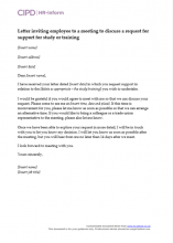Letter inviting employee to a meeting to discuss a request for support for study or training