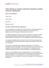 Letter offering an employee selected for redundancy suitable alternative employment