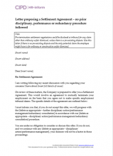 Letter proposing Settlement Agreement - no prior disciplinary, performance or redundancy procedure followed