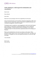 Letter relating to a valid request for information and consultation