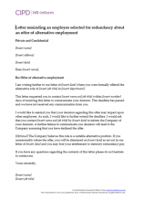 Letter reminding an employee selected for redundancy about an offer of alternative employment