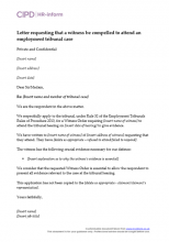 Letter requesting that a witness be compelled to attend an employment tribunal case