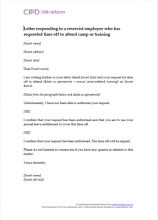 Letter responding to a reservist employee who has requested time off to attend camp or training